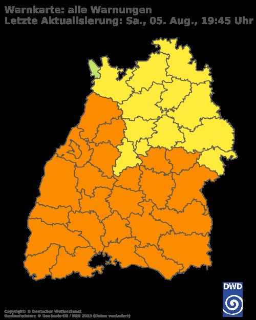 Aktuelle Wetterwarnungen für Esslingen