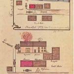 Diese Zeichnungen der ersten Brände wurden vom Schriftführer in das Protokollbuch gezeichnet.
